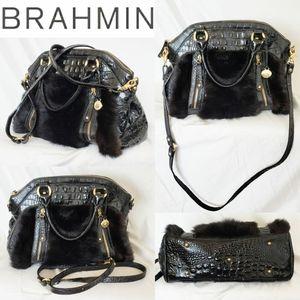 COPY - Brahmin Black Gold Fur Purse